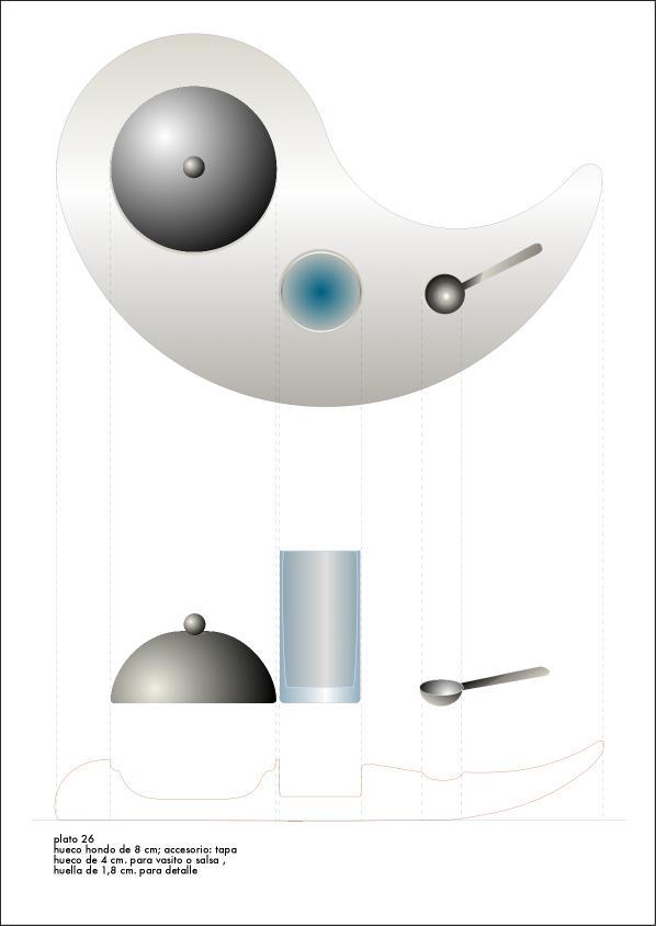 Diseño vajilla  restaurante Hotel Arts Barcelona. Opción 1.